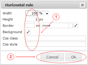 Editor  Horizontal Rule | CMS Tools Files | Documentation: Dialog (image)