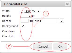 Editor  Horizontal Rule   CMS Tools Files   Documentation: Dialog (image)