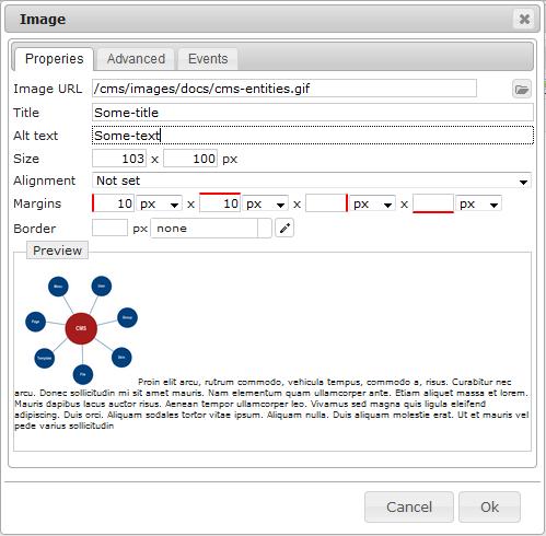 Editor Image   CMS Tools Files   Documentation: Result dialog (image)