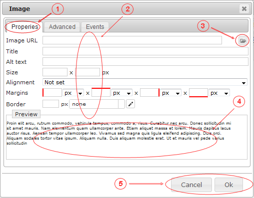 Editor Image   CMS Tools Files   Documentation: Image dialog properties (image)