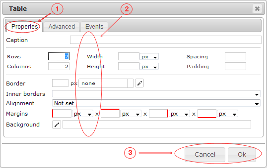Editor Table | CMS Tools Files | Documentation: Table properties (image)