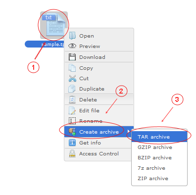 Manager Create Archive | CMS Tools Files | Documentation: Archive files/folders with file right click context menu (image)