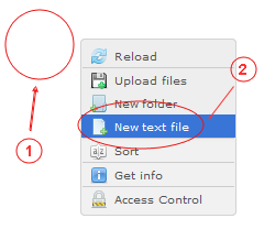 Manager New Text File | CMS Tools Files | Documentation: Create new text file with file right click context menu (image)