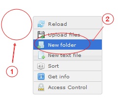 Manager New Folder | CMS Tools Files | Documentation: Create new folder with file right click context menu (image)