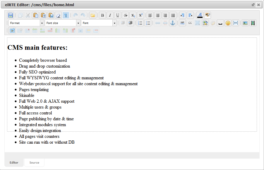 Manager Edit | CMS Tools Files | Documentation: WYSIVYG elRTE editor (image)