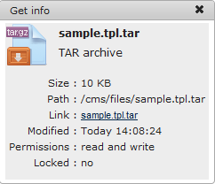 Manager Get Info | CMS Tools Files | Documentation: File/folder info box with file right click context menu (image)