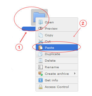 Manager Cut Copy Paste | CMS Tools Files | Documentation: Paste files/folders with right click context menu (image)