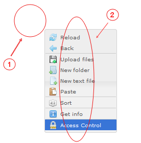 Manager Reference | CMS Tools Files | Documentation: Right click active folder area context menu (image)