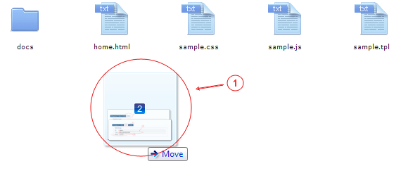 Manager Drag and Drop   CMS Tools Files   Documentation: Upload files with drag & drop from PC folder into files manager active folder area (image)