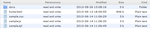 Manager View | CMS Tools Files | Documentation: File list view (image)