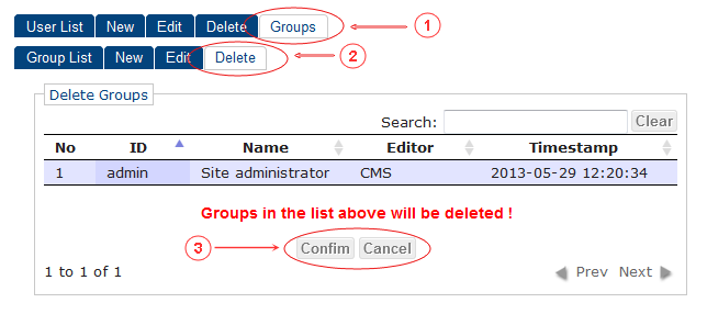 Delete | CMS Tools Groups | Documentation (image)