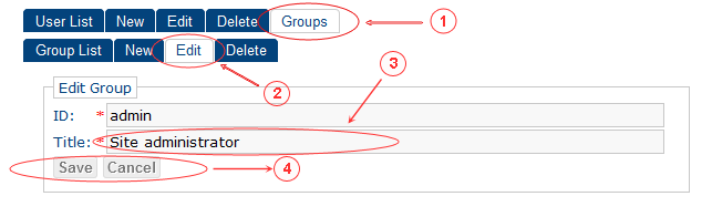 Edit | CMS Tools Groups | Documentation (image)