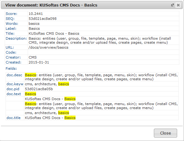 Search | CMS Tools Indexing| Documentation view indexed item data (image)