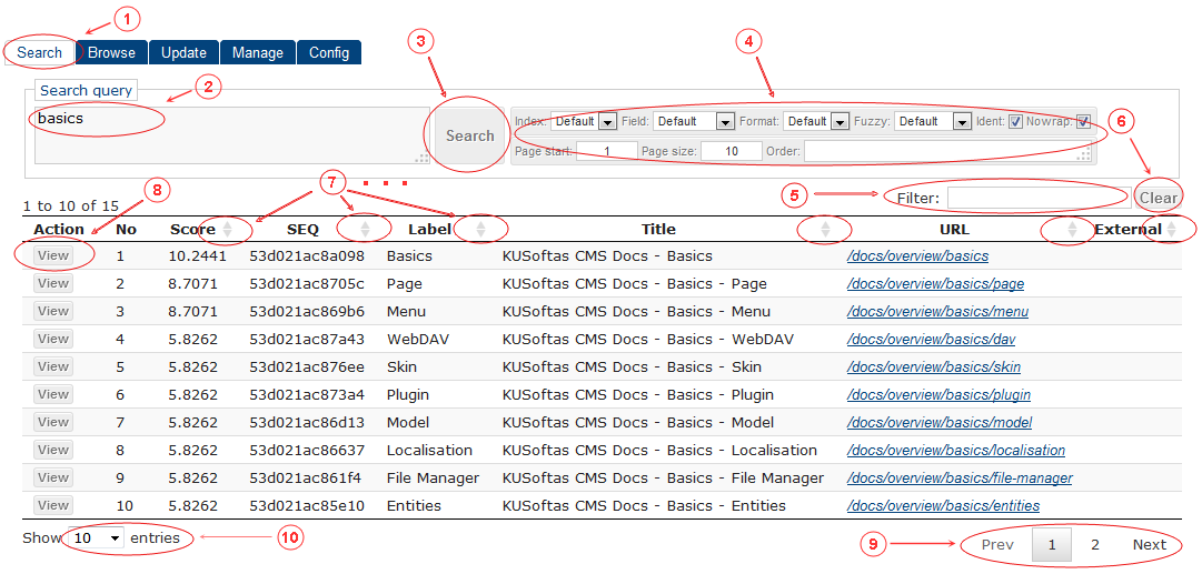 Search | CMS Tools Indexing| Documentation (image)