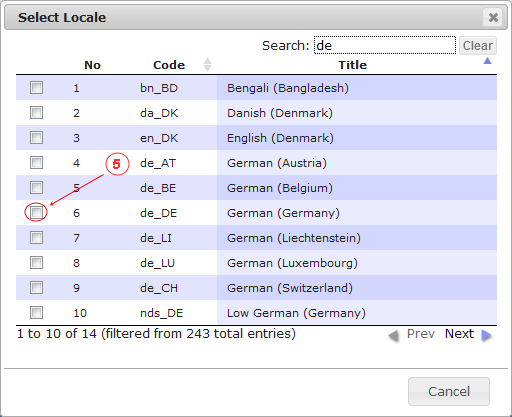 Locale Add   CMS Tools Localisation  Documentation - Select from list (image)