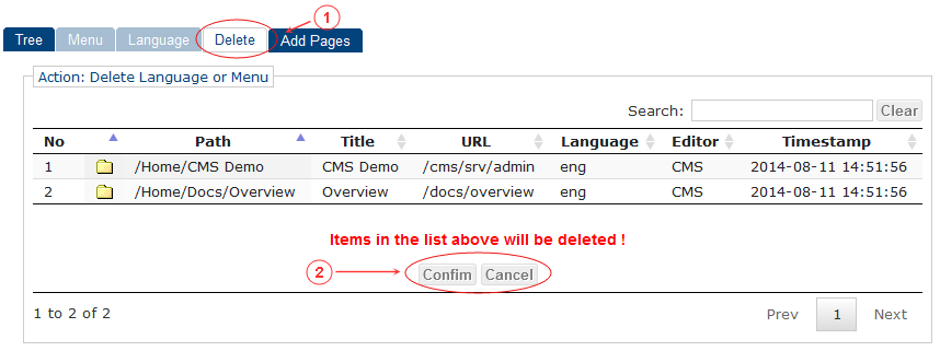 Delete Language Menu Confirm   CMS Tools Menu   Documentation (image)