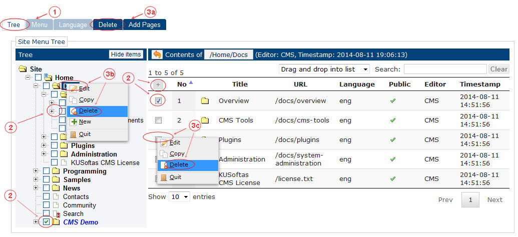 Delete Language Menu Start | CMS Tools Menu | Documentation (image)