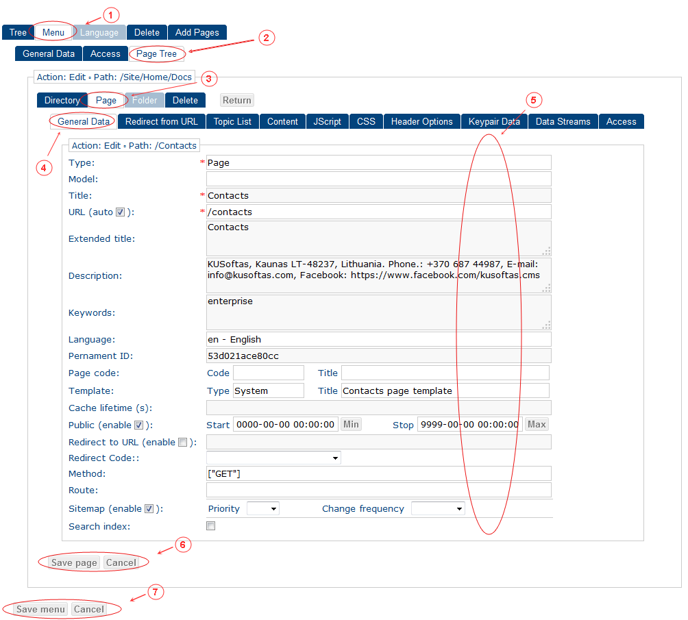 New Edit Menu General Data   CMS Tools Menu   Documentation: edit page (image)