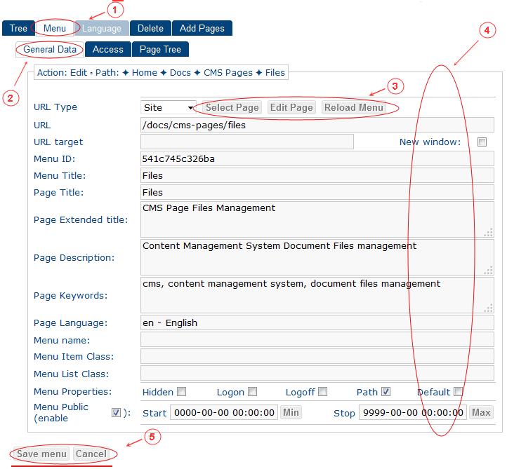 New Edit Menu General Data   CMS Tools Menu   Documentation (image)