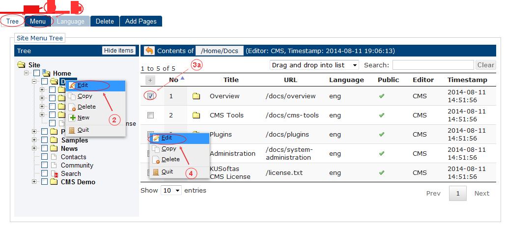 New Edit Menu Start | CMS Tools Menu | Documentation (image)