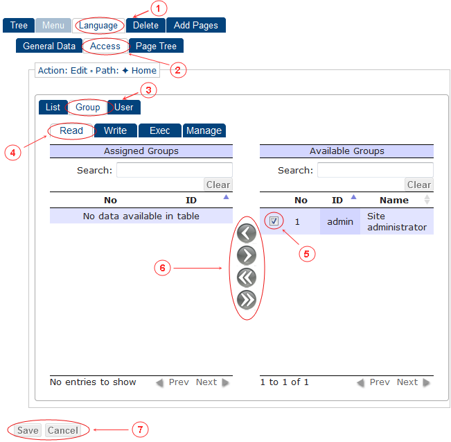 New Edit Language Access Control Rights | CMS Tools Menu | Documentation (image)