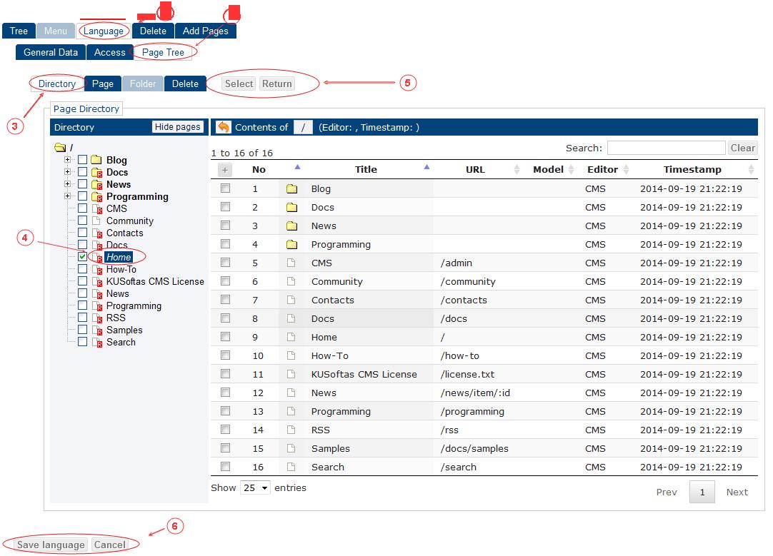 New Edit Language General Data | CMS Tools Menu | Documentation: select page (image)