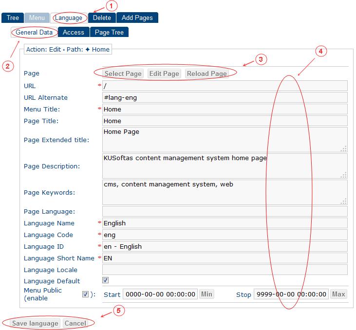 New Edit Language General Data | CMS Tools Menu | Documentation (image)