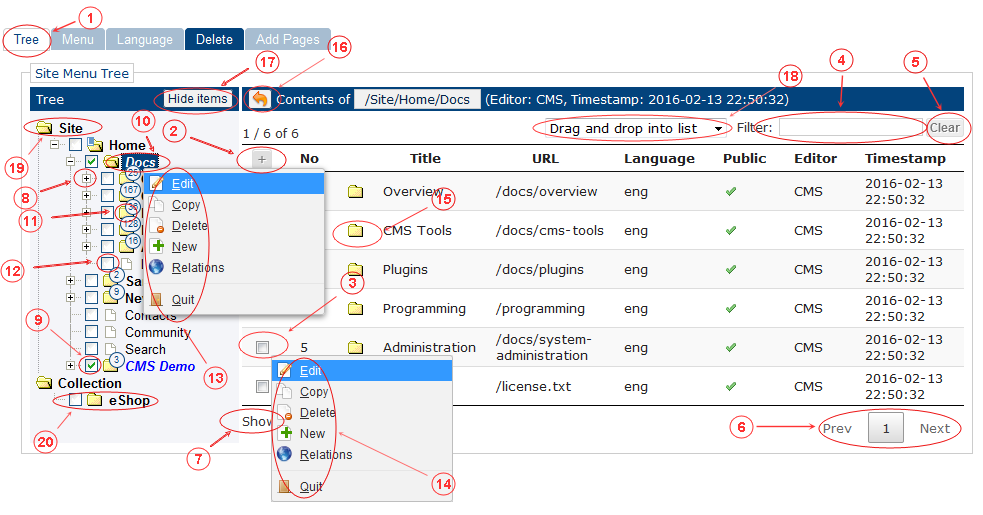 Menu Tree Reference | CMS Tools Menu | Documentation (image)
