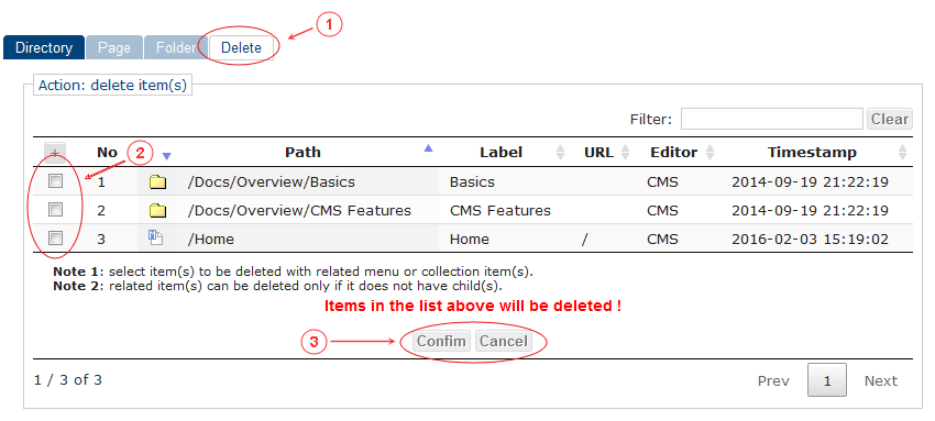 Delete Folder Page Confirm | CMS Tools Pages | Documentation (image)