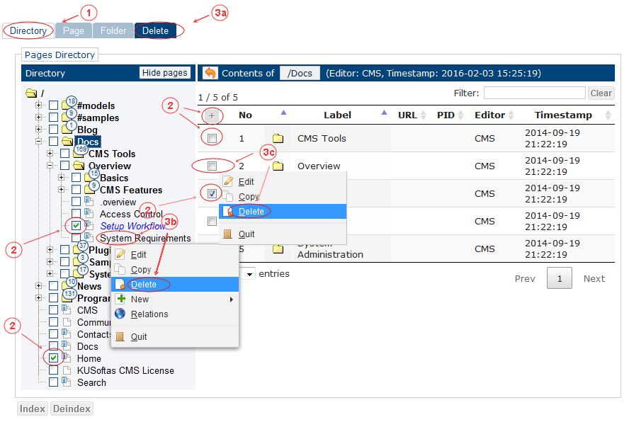 Delete Folder Page Start | CMS Tools Pages | Documentation (image)