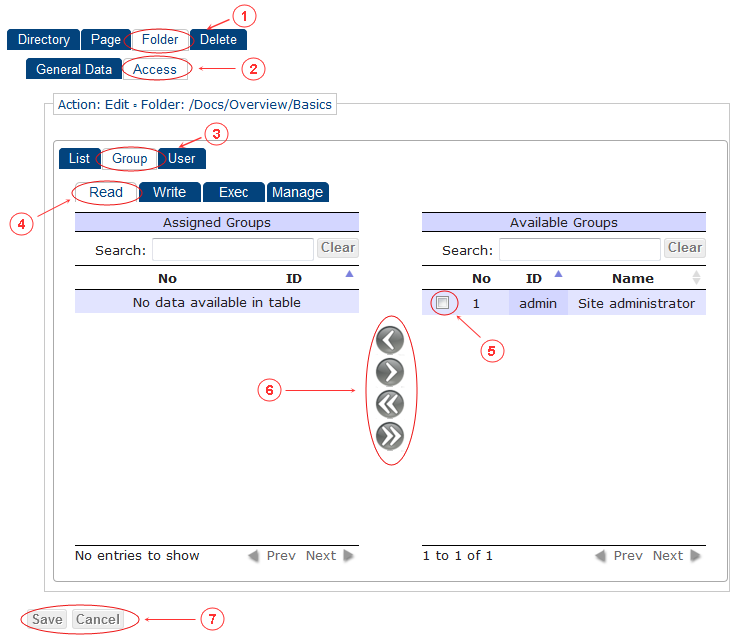 Folder Edit Access Control Rights | CMS Tools Pages | Documentation (image)