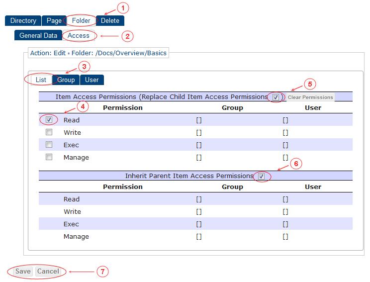 Folder Edit Access Control List | CMS Tools Pages | Documentation (image)