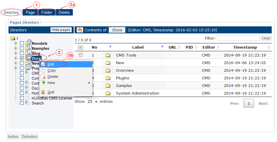 Folder Edit Start | CMS Tools Pages | Documentation (image)