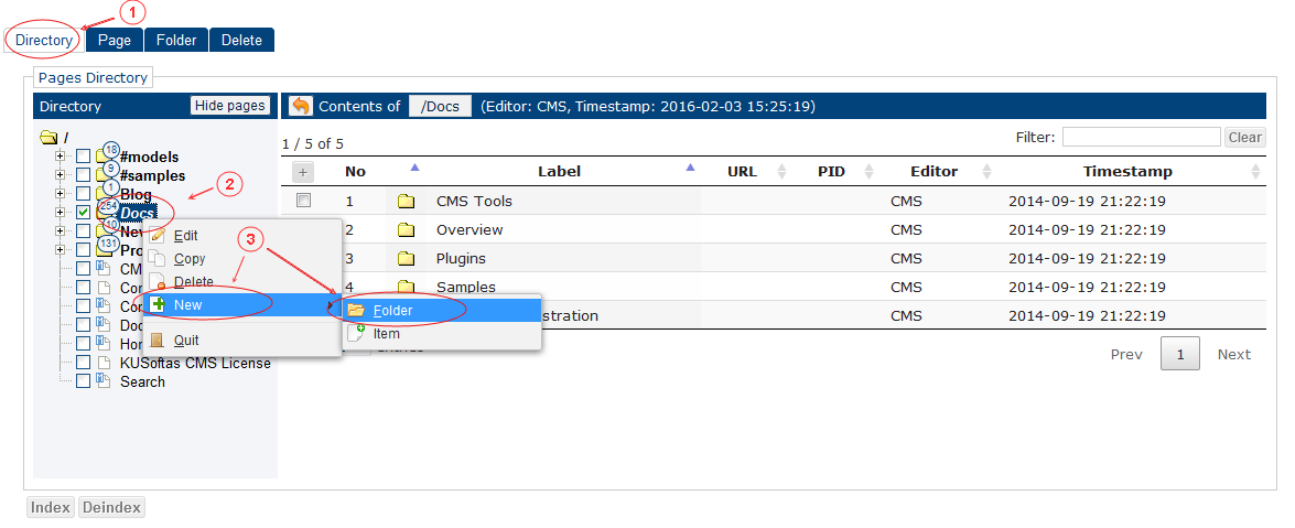 New Folder   CMS Tools Pages   Documentation (image)