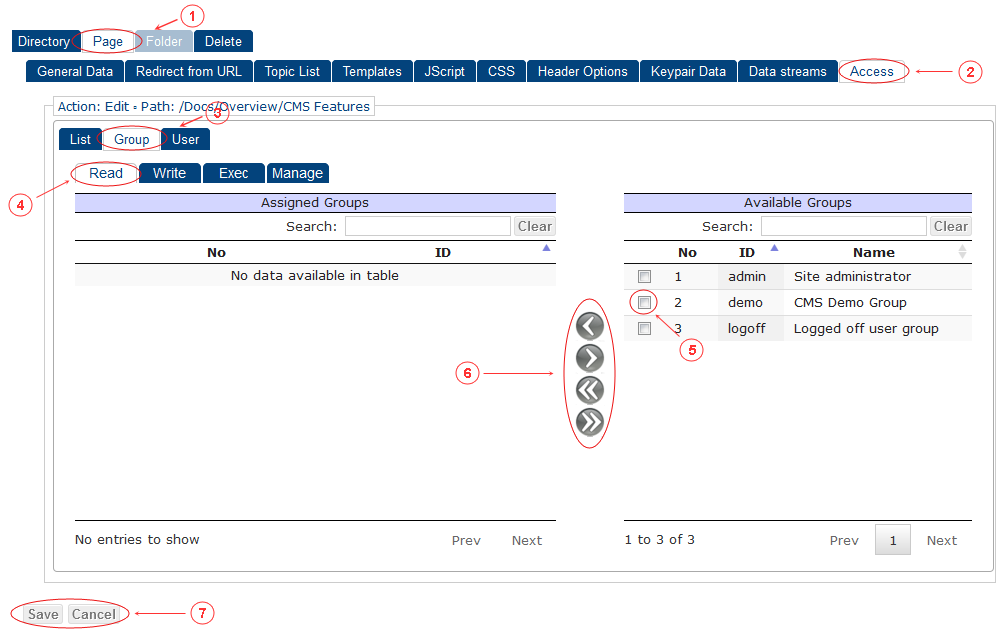 New Edit Page Access Control Rights | CMS Tools Pages | Documentation (image)