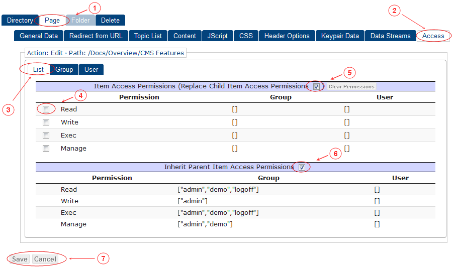 New Edit Page Access Control List | CMS Tools Pages | Documentation (image)