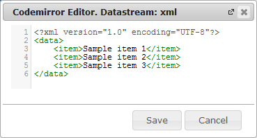 New Edit Page Data Streams | CMS Tools Pages | Documentation: datastream Codemirror editor (image)