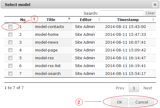 New Edit Page General Data | CMS Tools Pages | Documentation: select model (image)