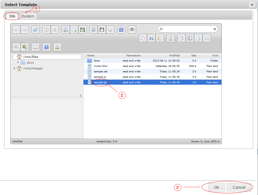 New Edit Page General Data | CMS Tools Pages | Documentation: select template from site files folder (image)