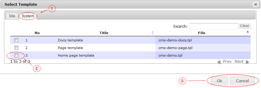 New Edit Page General Data | CMS Tools Pages | Documentation: select template from system defined list (image)