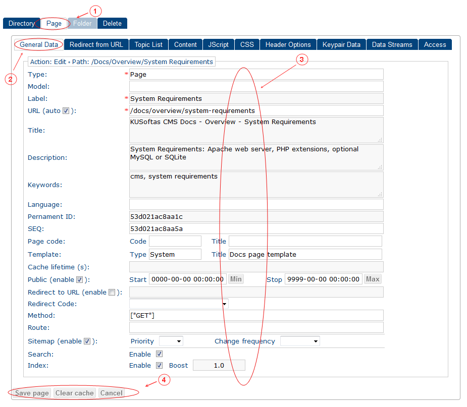 New Edit Page General Data | CMS Tools Pages | Documentation (image)