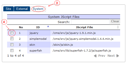 New Edit Page JScript | CMS Tools Pages | Documentation: select from system definde list (image)