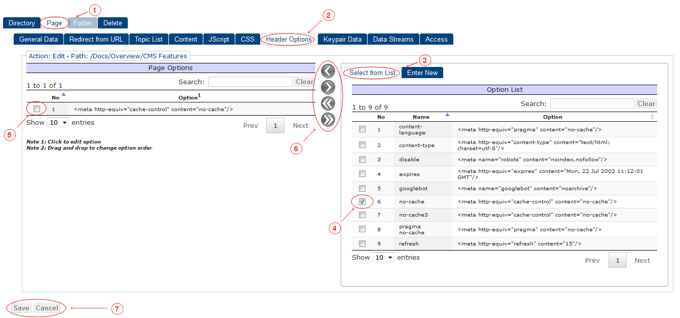 New Edit Page Header Options | CMS Tools Pages | Documentation (image)