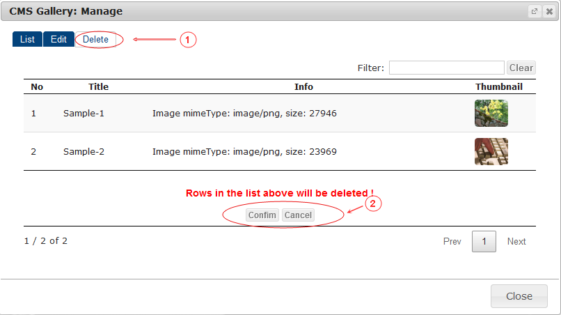 Gallery Delete | CMS Plugins | Documentation (image)
