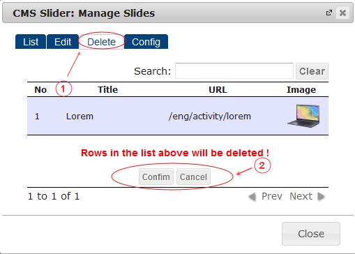 Slider Delete | CMS Plugins | Documentation (image)