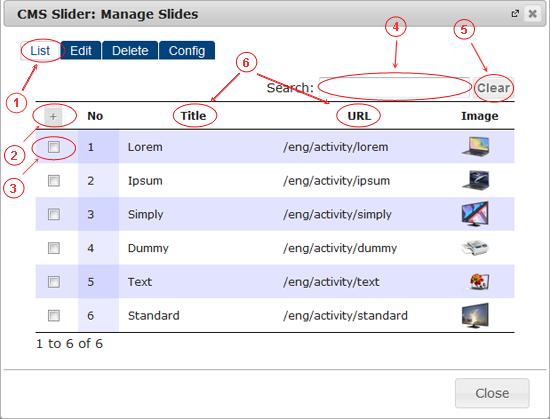 Slider List | CMS Plugins | Documentation (image)