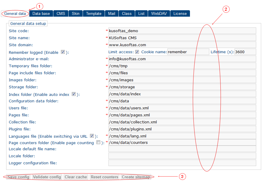 General Data   CMS Tools Setup   Documentation (image)