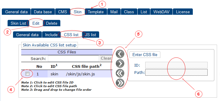 Skin New Edit CSS List | CMS Tools Setup | Documentation (image)