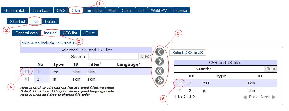 Skin New Edit Include List   CMS Tools Setup   Documentation (image)