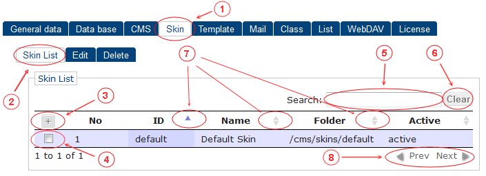 Skin List | CMS Tools Setup | Documentation (image)